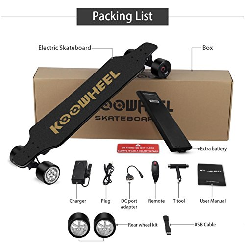 box of Koowheel electric Skateboard and its accessories